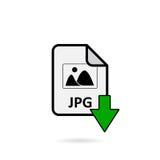 Arquivo do JPG com o botão verde da transferência da seta Foto de Stock