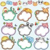Os quadros animais da nuvem ajustaram 2 ilustração stock