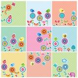 Grupo de cartões floral do jardim bonito ilustração royalty free