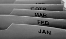 Arquivo mensal Foto de Stock Royalty Free