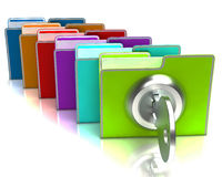 Arquivos com a mostra chave confidencial e classificada Fotos de Stock