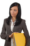Arquivos de terra arrendada da mulher de negócio Imagem de Stock Royalty Free