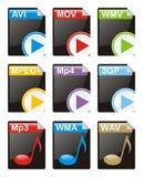 Arquivos dos multimédios Imagem de Stock