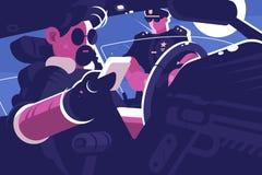 Arrêt de conducteur par vérification de document de patrouille de police illustration libre de droits