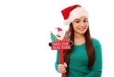 Arrêt de Santa ici ! Photos libres de droits