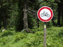 arrêt de signe de vélo Photo libre de droits