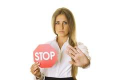 ARRÊT de signe et de geste Photo libre de droits