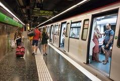 Arrêt de souterrain d'Espana de plaza, Barcelone, Espagne Images stock