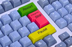 Arrêt, pause et relancement d'urgence sur le clavier photo stock