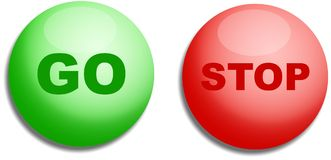 Arrêtez et allez des boutons illustration stock
