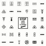 Arrêtez l'icône de poteau de signalisation Ensemble universel d'icônes ferroviaires d'avertissements pour le Web et le mobile illustration libre de droits