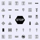 arrêtez l'icône de signe Ensemble universel d'icônes ferroviaires d'avertissements pour le Web et le mobile illustration stock