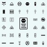 arrêtez l'icône de train de signe Ensemble universel d'icônes ferroviaires d'avertissements pour le Web et le mobile illustration de vecteur