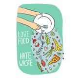 Arrêtez l'illustration de nourriture de gaspillage illustration stock