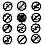 Arrêtez l'infection, un ensemble d'icônes de vecteur de différents micro-organismes et des bactéries, virus, sont éliminées, hygi Photos libres de droits