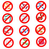 Arrêtez l'infection, un ensemble d'icônes de vecteur de différents micro-organismes et des bactéries, virus, sont éliminées, hygi Photo libre de droits