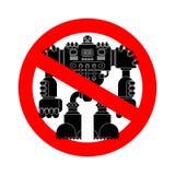 Arrêtez la bataille de robot Panneau routier rouge interdit Aucun fu de guerrier de cyborg illustration de vecteur