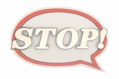 Arrêtez la bulle de la parole de message de halte de fin de Word Photographie stock libre de droits