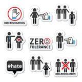 Arrêtez la discrimination des hommes, et des icônes de femmes réglées Photographie stock