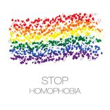 Arrêtez la homophobie Ruban de petits coeurs dans des couleurs de drapeau de lgbt image libre de droits