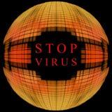 Arrêtez le concept de virus Forme orange de globe sur le fond noir avec t Image stock
