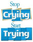 Arrêtez le début pleurant essayant les rayures bleues de places illustration libre de droits
