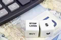 Arrêtez le dollar canadien de perte photo stock