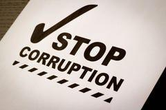 Arrêtez le papier de corruption images libres de droits