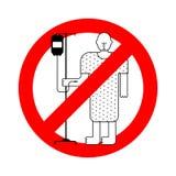 Arrêtez le patient hospitalisé Homme rouge interdit de malade de panneau routier Interdiction Vec illustration de vecteur