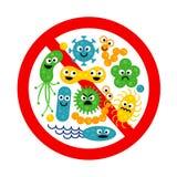 Arrêtez le signe de bactérie avec beaucoup de gemmes mignonnes de bande dessinée illustration libre de droits
