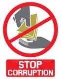 Arrêtez le signe de corruption Photo stock