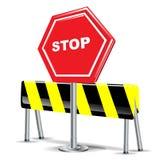 Arrêtez le signe et le signe d'attention Photographie stock libre de droits