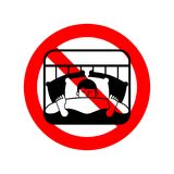 Arrêtez le sommeil Interdiction rouge de panneau routier Type d'interdiction dormant sur le lit illustration de vecteur