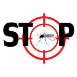 Arrêtez le virus de zika Illustration de signe de mosquto de qnat de vecteur Photos libres de droits