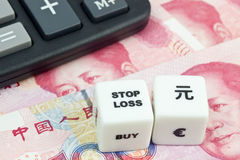 Arrêtez les yuans de Chinois de perte Image libre de droits