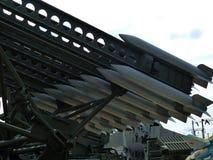 Arr de l'artillerie BM-13 nanomètre 2B7 de fusée de véhicule de combat 1958 closeup Été Photographie stock libre de droits