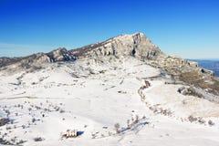 Arraba领域在Gorbea在冬天 库存照片