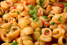 Arrabbiata pasta ready for serving Stock Photos