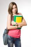 Arrabbiato, frustrato sembrando la giovane ragazza dello studente. Fotografia Stock Libera da Diritti
