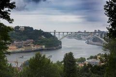 Arrabida bridge from Crystal Palace Park, Porto, Portugal stock image