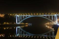 Arrabida bridge and lights on Douro river. Porto, Portugal Stock Photos