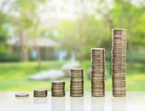 Arrage σωρών νομισμάτων που μεγαλώνει Στοκ Εικόνα