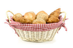 Arragement of bread in basket. Isolated on white background stock photos