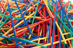 Arragement desarrumado de palhas plásticas Imagem de Stock