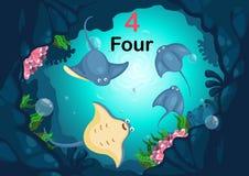 Arraia-lixa do número quatro sob o vetor do mar ilustração royalty free
