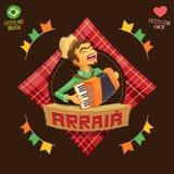 Arraia significa a vila, igualmente nomeia partidos de junho - logotipo do jogador do acordeão Imagem de Stock