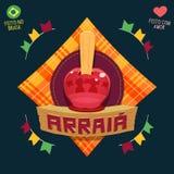 Arraia significa a vila, igualmente nomeia partidos de junho - logotipo dos doces de Apple Fotografia de Stock