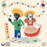 Arraia significa a vila, igualmente nomeia partidos de junho - multiraci feliz Imagens de Stock Royalty Free