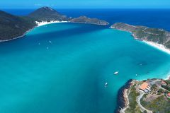 Arraial do Cabo, Brazil: Aerial view of a brazilian caribbean`s beach stock images