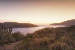 Arraial do Cabo, Cabo Frio, RJ, Brazil. The sunrise in Praia do Forno, Arraial do Cabo, RJ, Brazil royalty free stock photography